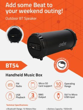 Artis BT54 Bluetooth Speaker Wireless Portable with FM/USB/AUX in/Micro SD Card Reader Input (Black)